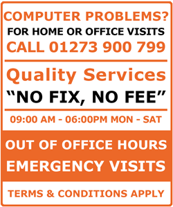 Computer Problems? Call 01273 900 799 for home and office visits